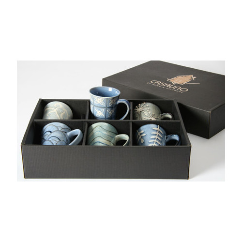 Lifestyle Traders Stoneware 6 Piece Mug Set in Blue