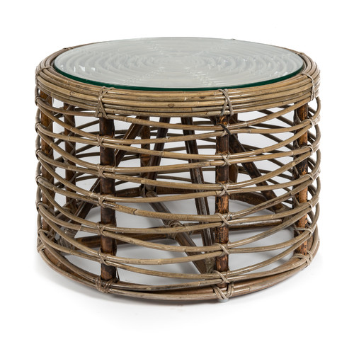 Wicker Circle Coffee Table: Santiago Woven Rattan Round Coffee Table