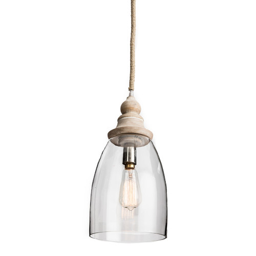 timeless design f5f71 6ceb2 Conical Clear Glass Pendant Light with Wood Finial