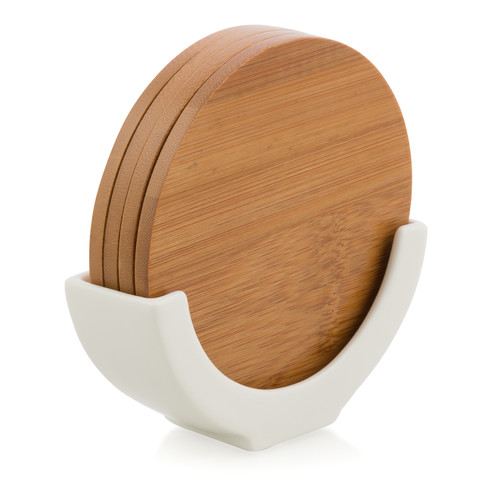 Lifestyle Traders Bamboo Coasters with Porcelain Stand