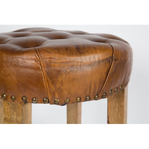Lifestyle Traders Manhattan Round Wood And Leather Bar Stool With Button  Detail