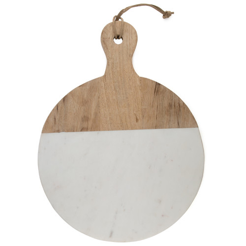 Mango Wood And Marble Round Chopping Board with Handle