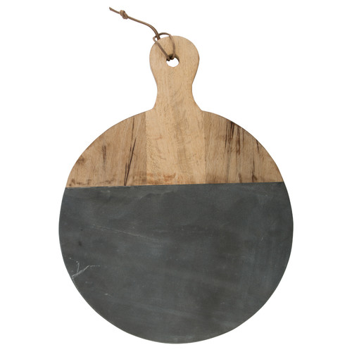 Lifestyle Traders Mango Wood And Marble Round Chopping Board with Handle
