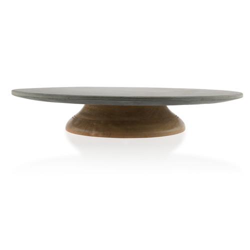 lifestyle traders marble lazy susan on mango wood swivel base