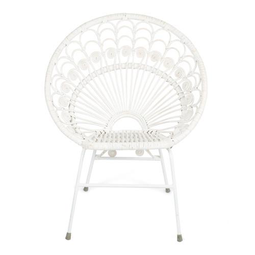 Rattan Chair Metal Legs: Bandung White Rattan Chair With Metal Legs