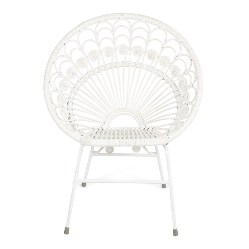 Lifestyle Traders Pepper White Metal u0026&; Rattan Chair  sc 1 st  Temple u0026 Webster : white rattan chair - Cheerinfomania.Com