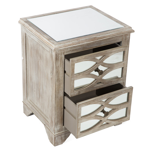 2 Drawer Wooden Lattice Mirrored Bedside Table Temple