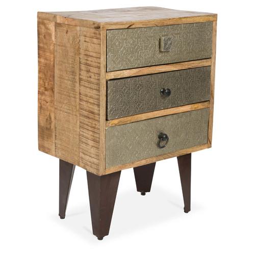 3 drawer pressed metal wood bedside table temple webster for Wood and metal bedside table