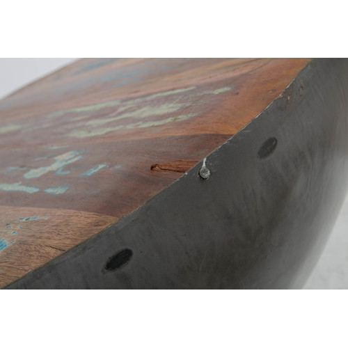 Reclaimed Boat Wood Coffee Table: Recycled Boat Wood & Iron Coffee Table