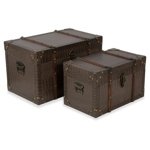 Lovely Lifestyle Traders Faux Leather New York Storage Trunks