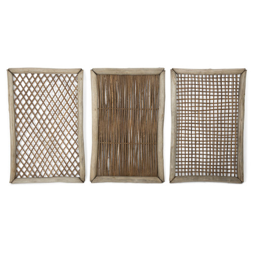 Lifestyle Traders Rectangular Tanoak U0026amp; Rattan Lattice Triptych Wall Art.   View Larger