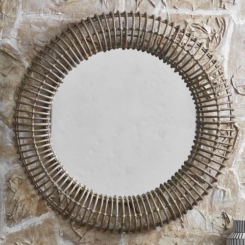 Casa Uno Plutorattan Round Mirror