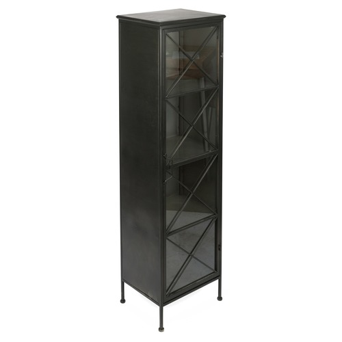 industrial tall metal glass bookcase temple webster. Black Bedroom Furniture Sets. Home Design Ideas