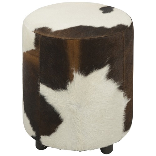 Strange Brown White Round Cowhide Ottoman Alphanode Cool Chair Designs And Ideas Alphanodeonline