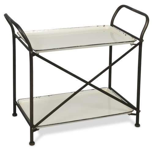 Lifestyle Traders Distressed White And Black 2 Tier Metal Trolley