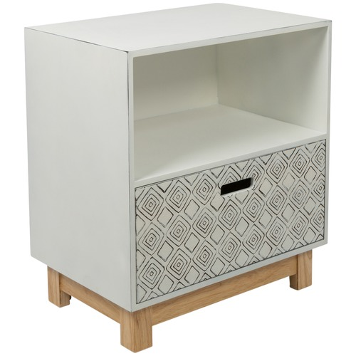 Lifestyle Traders Distressed White U0026amp; Natural Aloha Single Drawer  Embossed Bedside Table