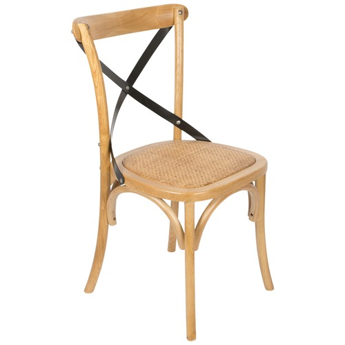 Lifestyle Traders Elm Wood Chair With Rattan Seat