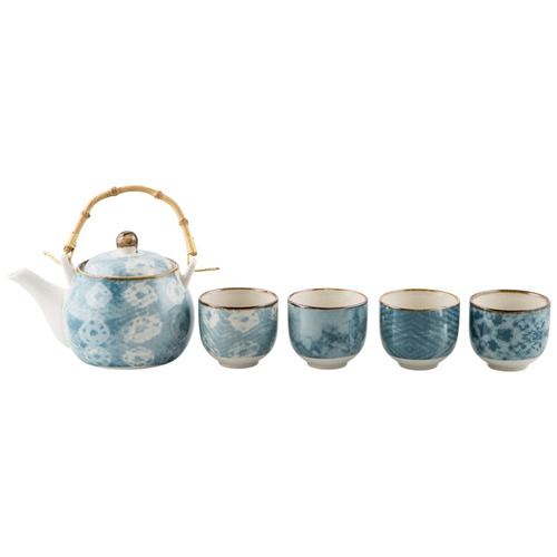 Lifestyle Traders Assorted 5 Piece Porcelain Tea Set Teapot And 4 Mugs