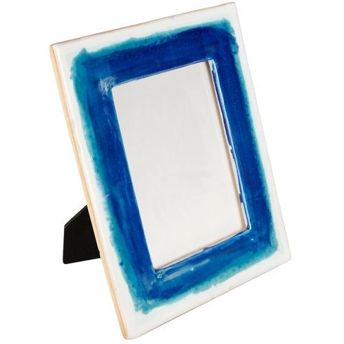 """Lifestyle Traders Azure 5 x 7"""" Glazed Ceramic Photo Frame"""