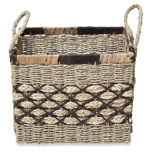 Lifestyle Traders 3 Piece Rectangular Ecuador Water Hyacinth Basket Set
