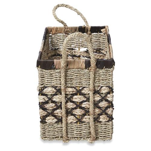 Lifestyle Traders 3 Piece Rectangular Ecuador Water Hyacinth Basket Set