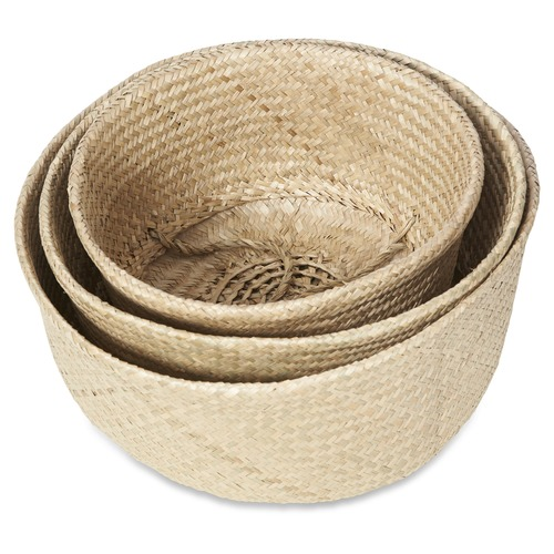 Lifestyle Traders 3 Piece Medina Foldable Seagrass Basket Set