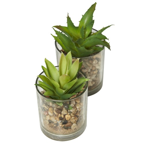 Lifestyle Traders 2 Piece Medium Faux Succulent Plant Set