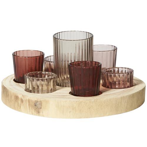 Lifestyle Traders 7 Piece Arizona Glass Tealight & Tray Set