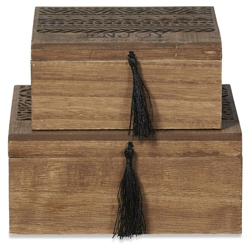 Lifestyle Traders 2 Piece Mini Brown Phoenix Storage Box Set