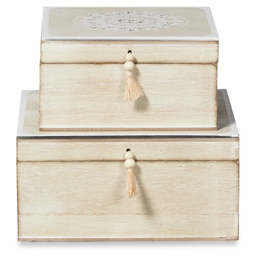 Lifestyle Traders 2 Piece Lyon Wooden Storage Box Set with Tassels