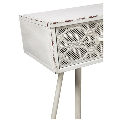 Lifestyle Traders Antique White Metal Filigree Console