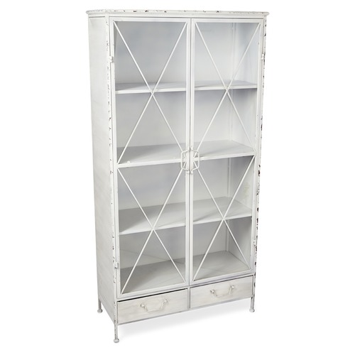 Lifestyle Traders Antique White 2 Door Metal Bookcase