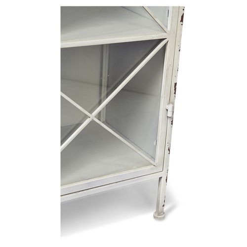 Lifestyle Traders Antique White Single Door Metal Bookcase