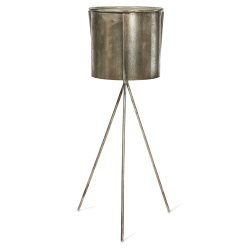 Lifestyle Traders 2 Piece Olivier Metal Planter & Stand Set