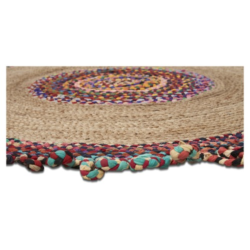Lifestyle Traders Multi-colour Round Jute & Cotton Chindi Rug