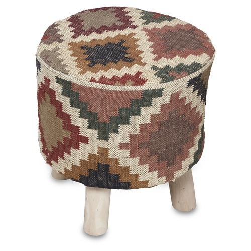 Lifestyle Traders Small Checkered Kilim Stool