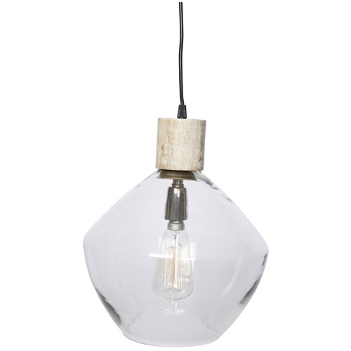 Lifestyle Traders Classic Glass & Wood Pendant Light