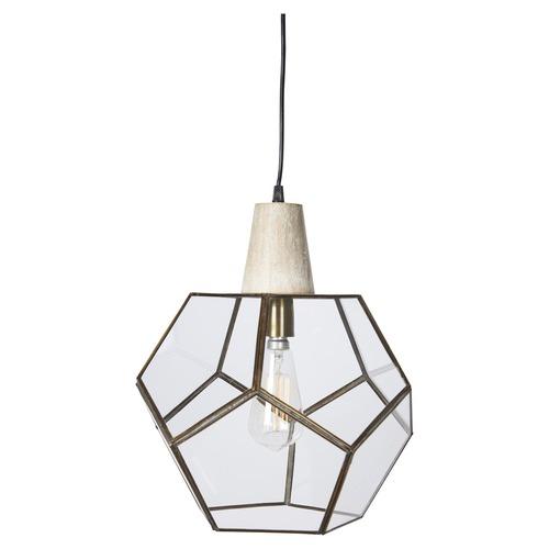 Lifestyle Traders Geometric Aria Brass & Wood Pendant Light