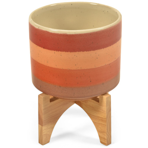 Lifestyle Traders Sunset Ceramic Pot on Wood Stand