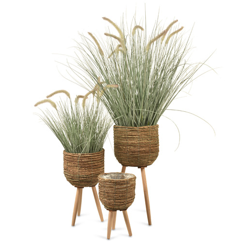 Lifestyle Traders 3 Piece Natural Marina Wooden Planter Set