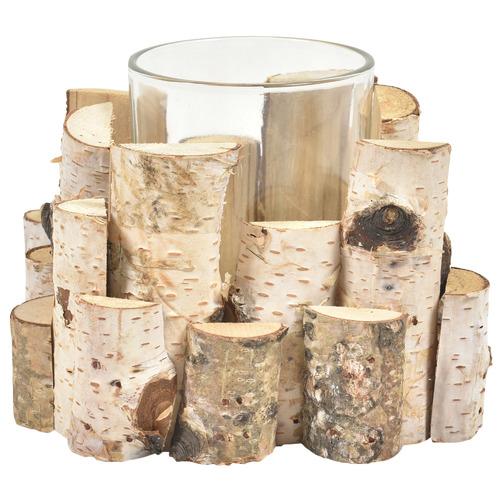 Single Birchwood & Glass Candle Holder