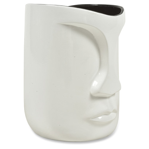 Lifestyle Traders White Pearl The Face Ceramic Planter