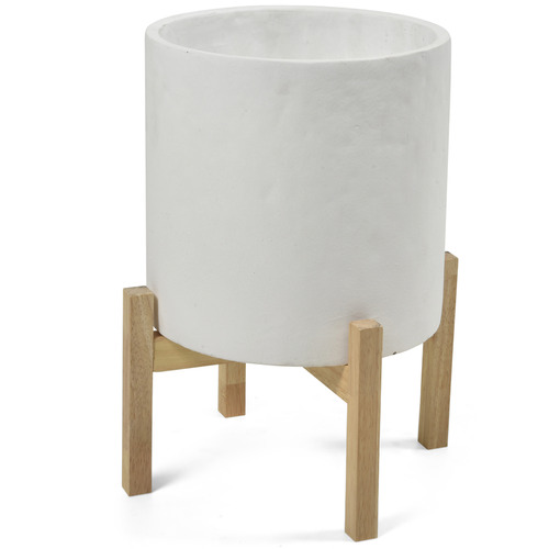 Lifestyle Traders White Planter Pot with Stand