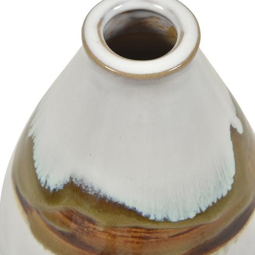 Lifestyle Traders White & Brown Arizona Glazed Ceramic Vase