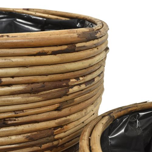 Lifestyle Traders 2 Piece Natural Rattan Planter Set