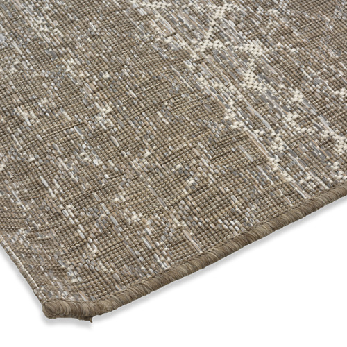 Lifestyle Traders Brown & Ivory St Tropez Cross Outdoor Rug