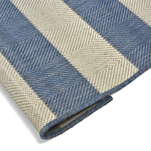 Lifestyle Traders Blue & Champagne Striped Suva Outdoor Rug