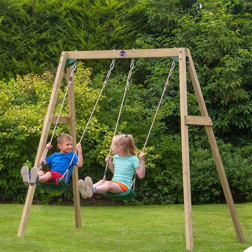 Plum Double Wooden Swing Set