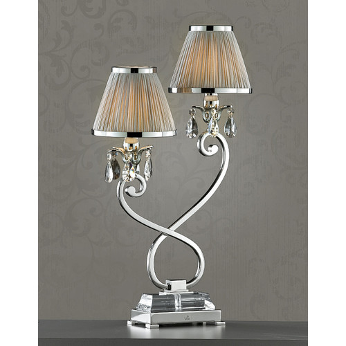 Viore Design Luxuria 2 Light Table Lamp - Shimmer Grey