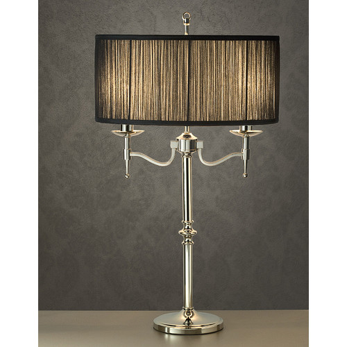 Viore Design Stanford 2 Light Nickel Table Lamp - Black